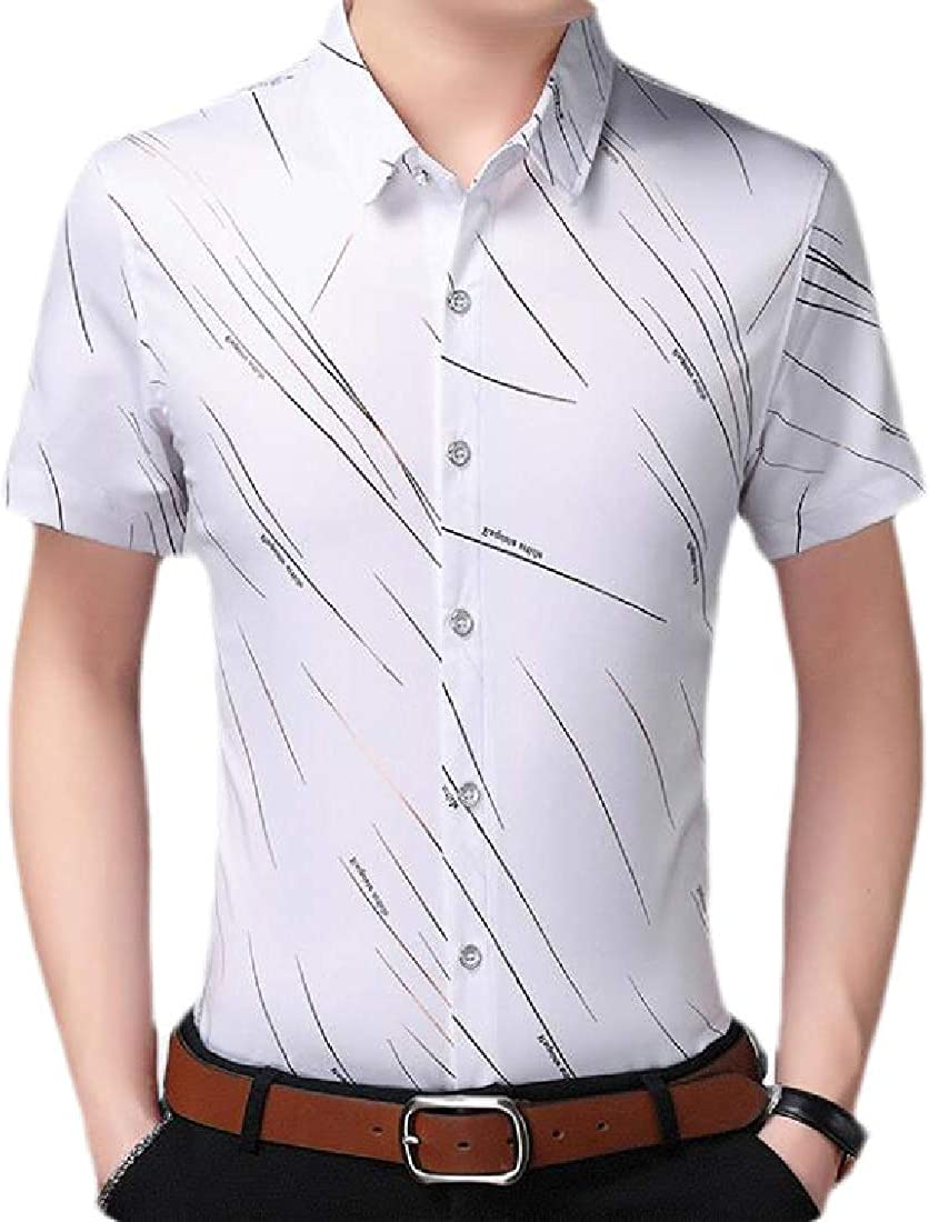 YYear Mens Button Down Casual Business Spread Collar Print Dress Shirts