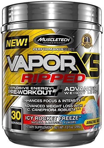 MuscleTech Vapor X5 Next Gen Pre Workout Powder Weight Loss Supplement, Explosive Energy Advanced Weight Loss, Icy Rocket Freeze, 30 Servings 7.27oz