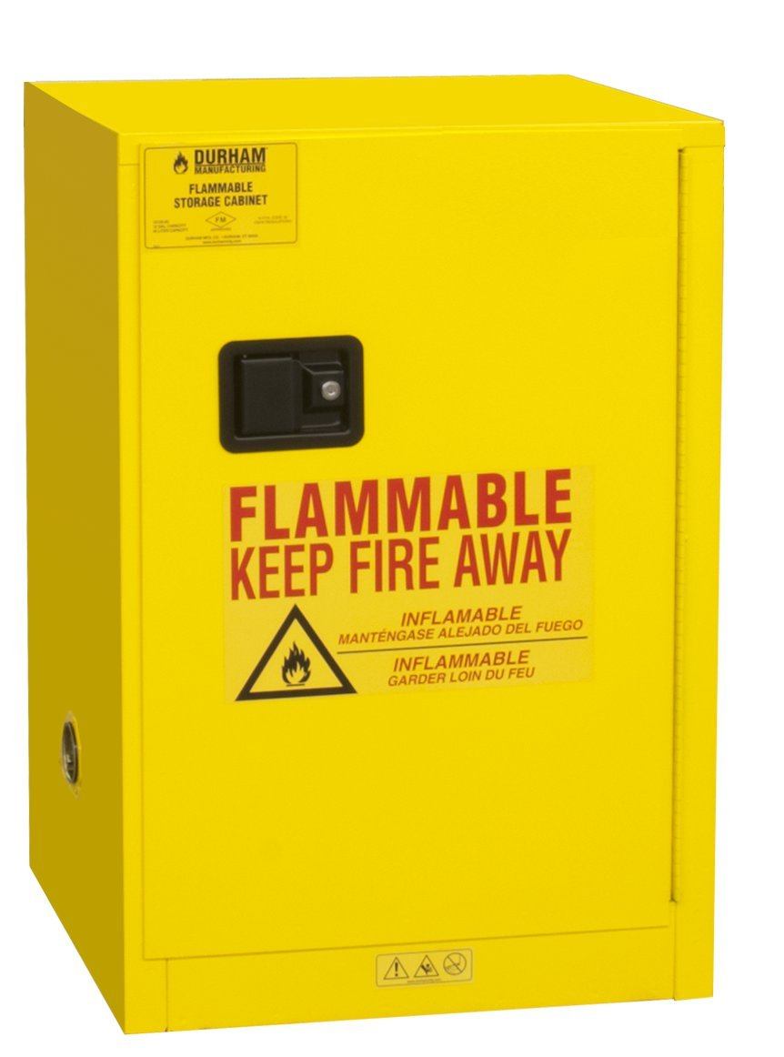 Durham FM Approved 1012M-50 Welded 16 Gauge Steel Fire Safety Manual Door Cabinet, 1 Shelves, 12 Gallons Capacity, 18'' Length x 23'' Width x 35'' Height, Yellow Powder Coat Finish