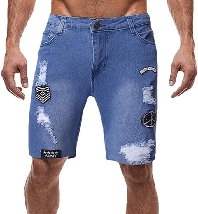 Hongxin Hombre Pantalones Cortos de Mezclilla Destruido