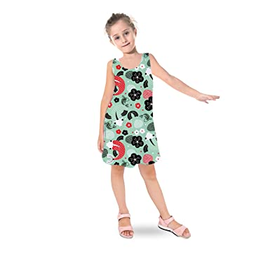 76106966ff Queen of Cases Koi Carp Asian Fish Kids Sleeveless Dress - 2 Flared Girls