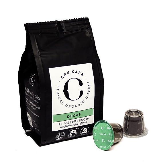 CRU Kafe Capsulas de Café Orgánico Compatibles con Máquinas Nespresso Nespresso Compatible - Descafeinado (48