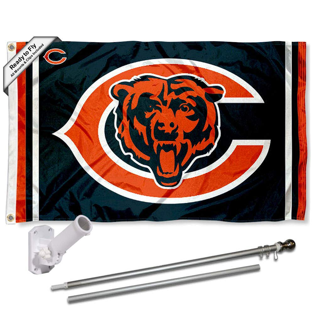 Wincraft Chicago Bears Dual Logo Flag Pole and Bracket Kit by Wincraft (Image #1)
