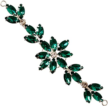 Embroidered Glitter Sparkle Emerald Green Diamond Gem Applique Patch Iron On Sew