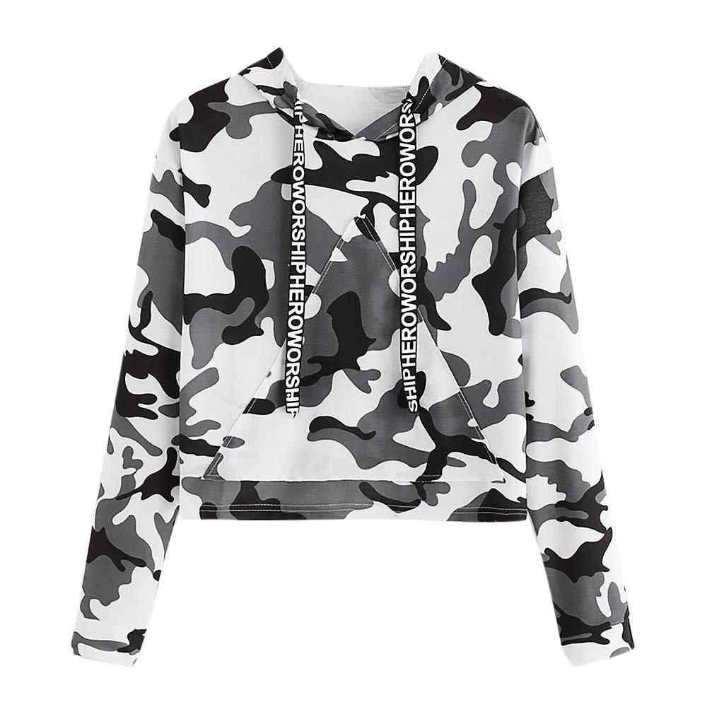 Spbamboo Womens Sweatshirt Long Sleeve Camouflage Print Hood Pullover Top Blouse