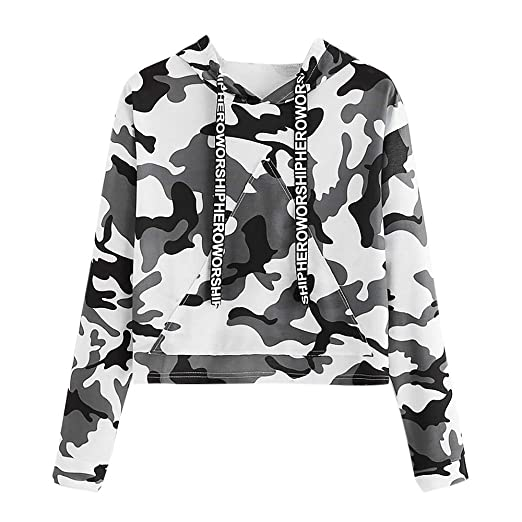 c549c80ca636d9 Kalmstore Womens Hoodie Camouflage Print Letter Drawstring Hooded  Sweatshirt Long Sleeve Pullover Crop Tops at Amazon Women's Clothing store: