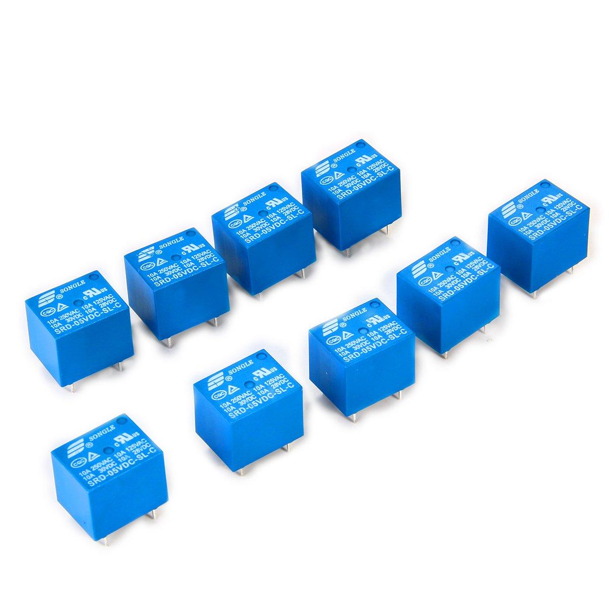 Pin para PCB SONGLE rel/é Electromagn/ético de Alimentaci/ón SPDT 12V 10A Montaje 10 Unidades Control Aplicaciones Electrodom/ésticos BI084