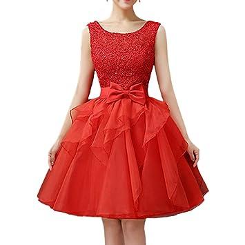 Mujer Corto Vestidos Sin Mangas De Fiesta De Graduación Rojo S