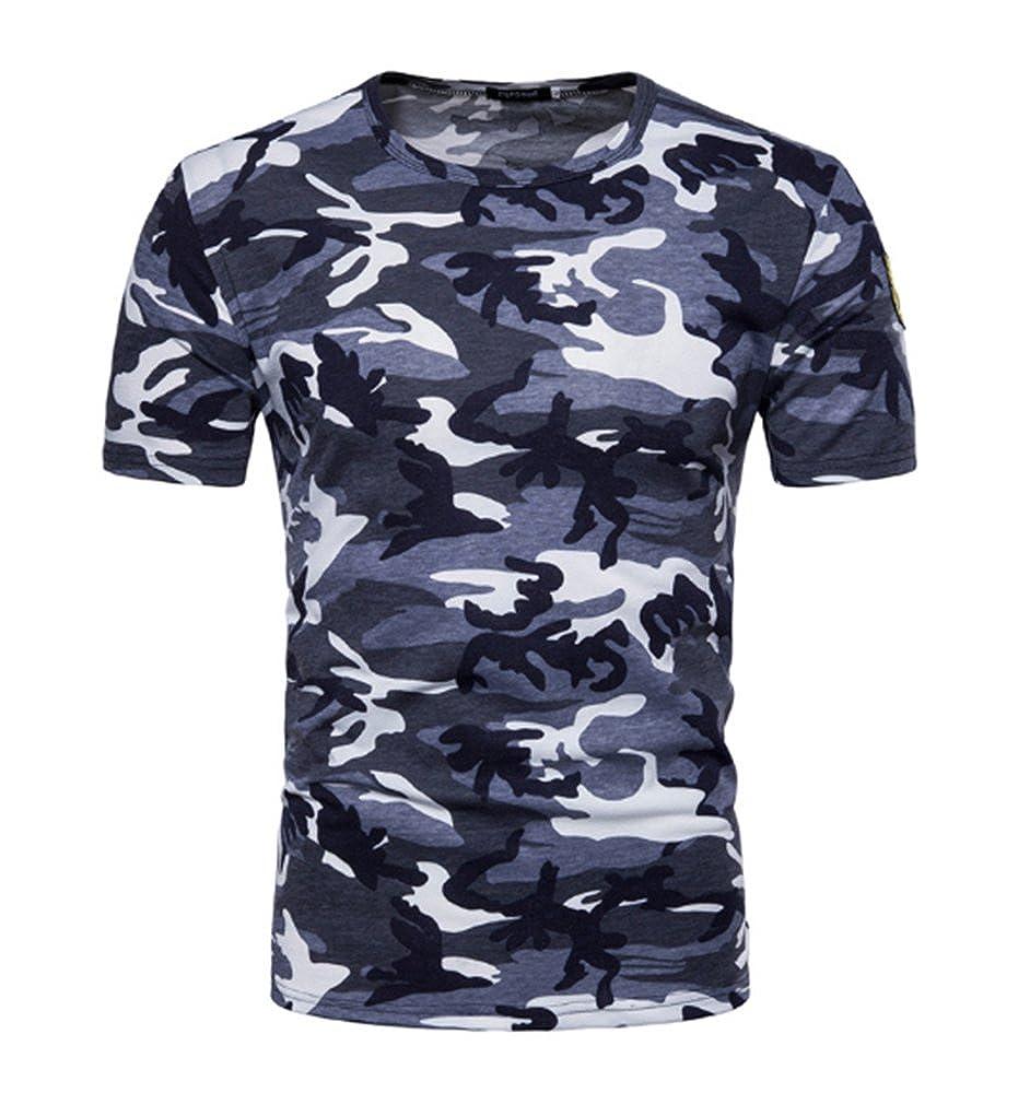 405dfd3031e8 hellomiko Heiße Neue Verkauf Männer Sommer Camouflage T-Shirt, Mode Männer  Camo Print Rundhalsausschnitt Kurzarm T-Shirt T-Shirt Top Bluse  Amazon.de   ...