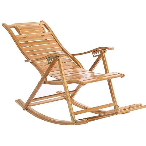 Silla Mecedora XITER reclinable de bambú, para Adultos ...