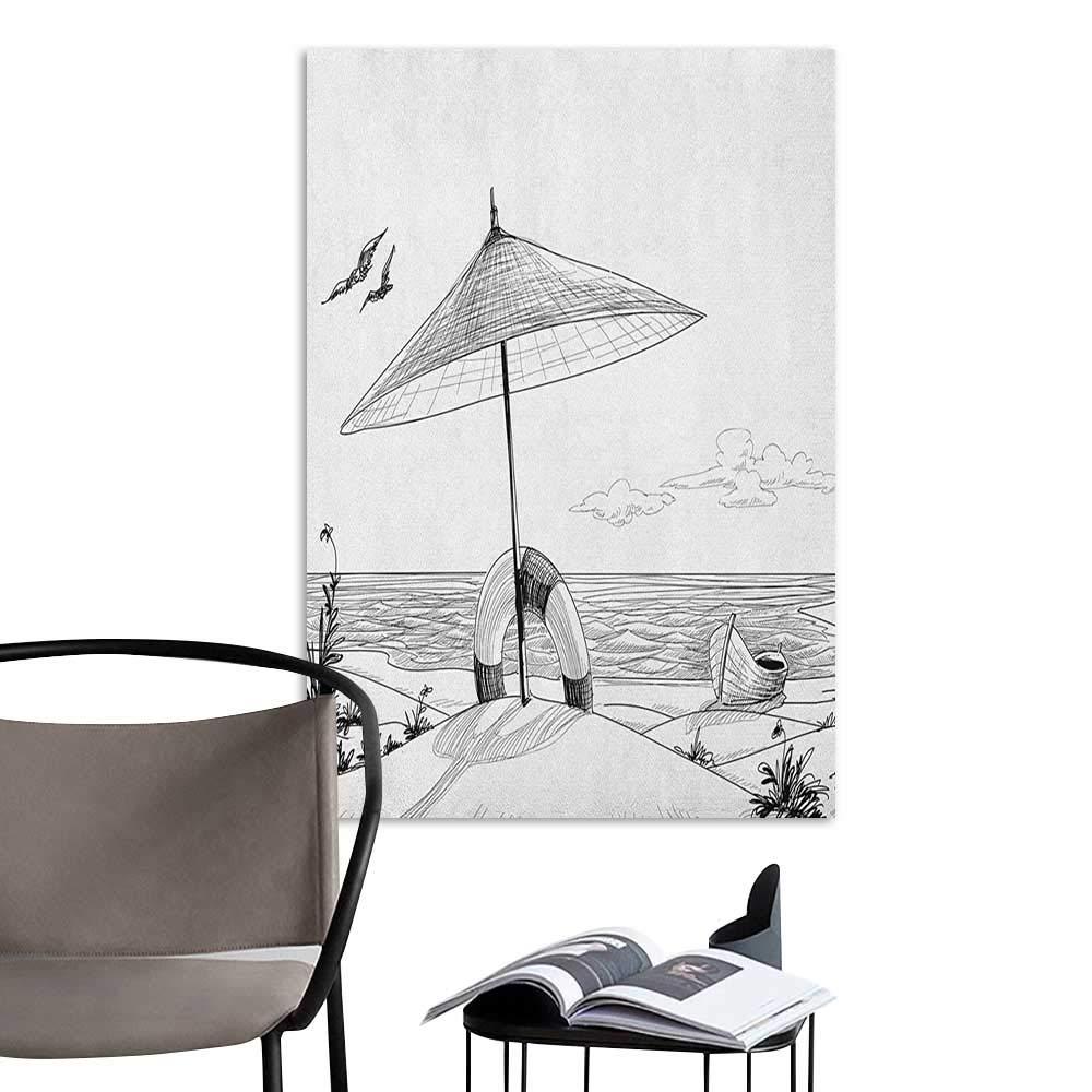 Amazon com canvas wall art beach doodle style sketch pattern