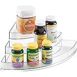 mDesign Storage Organizer for Vitamins, Supplements, Health Supplies - 3 Tier, Corner, Clear