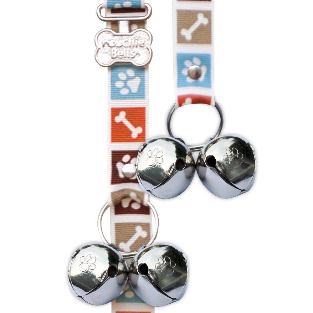 PoochieBells Housetraining Dog Doorbell, Bone Appetite Brown Design, Paw Prints and Dog Bones