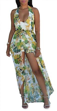 12265fdff348c Women s Halter Backless V Neck High Low Floral Romper Dresses Jumpsuits  Playsuits Plus Size Green Small