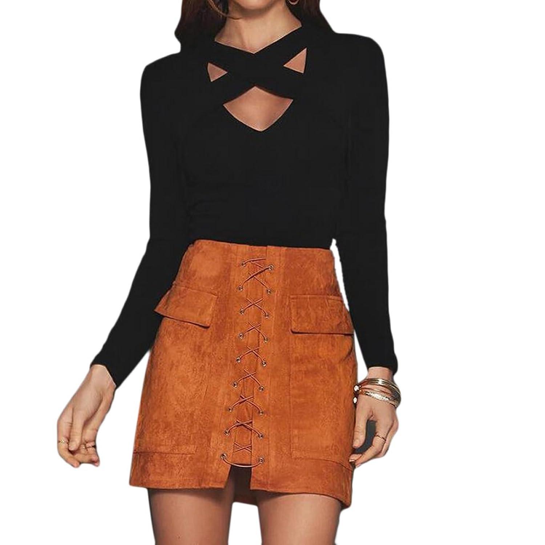 Women T-shirt Tops Sexy Casual Slim Hollow Out Cross Long Sleeve Short Crop