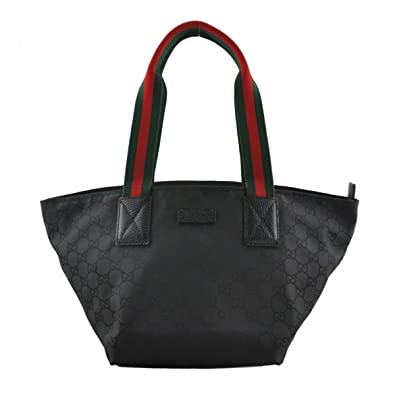052e603806d Amazon.com  Gucci Nylon and Leather GG Logo Black Web Tote Bag 374433  Shoes