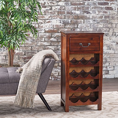 Shelby Rich Mahogany Acacia Wood with Faux Wood Overlay Wine Rack by GDF Studio