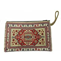 Red Gold Design Icon Holder Cloth Rosary Case Tapestry Zipper Close Pouch From Holy Land 5.7