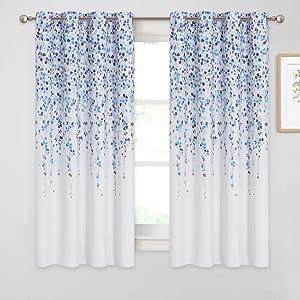 KGORGE Weeping Flowers Curtains, Room Darkening Garden Rural Series for Living Room Decor Bedroom Home Office Art Gallery, 52