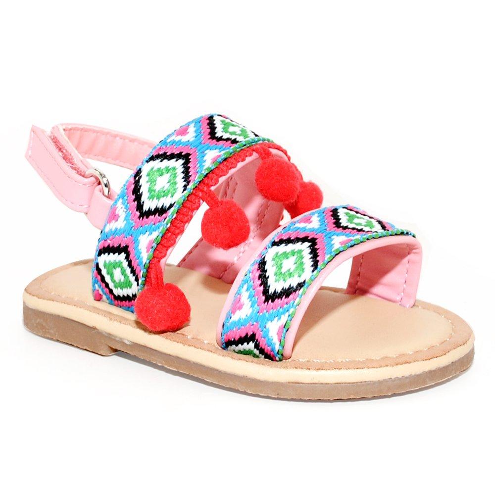 Cute Baby Tribal Trim & Pom Poms Flat Sandals (6, Blush)