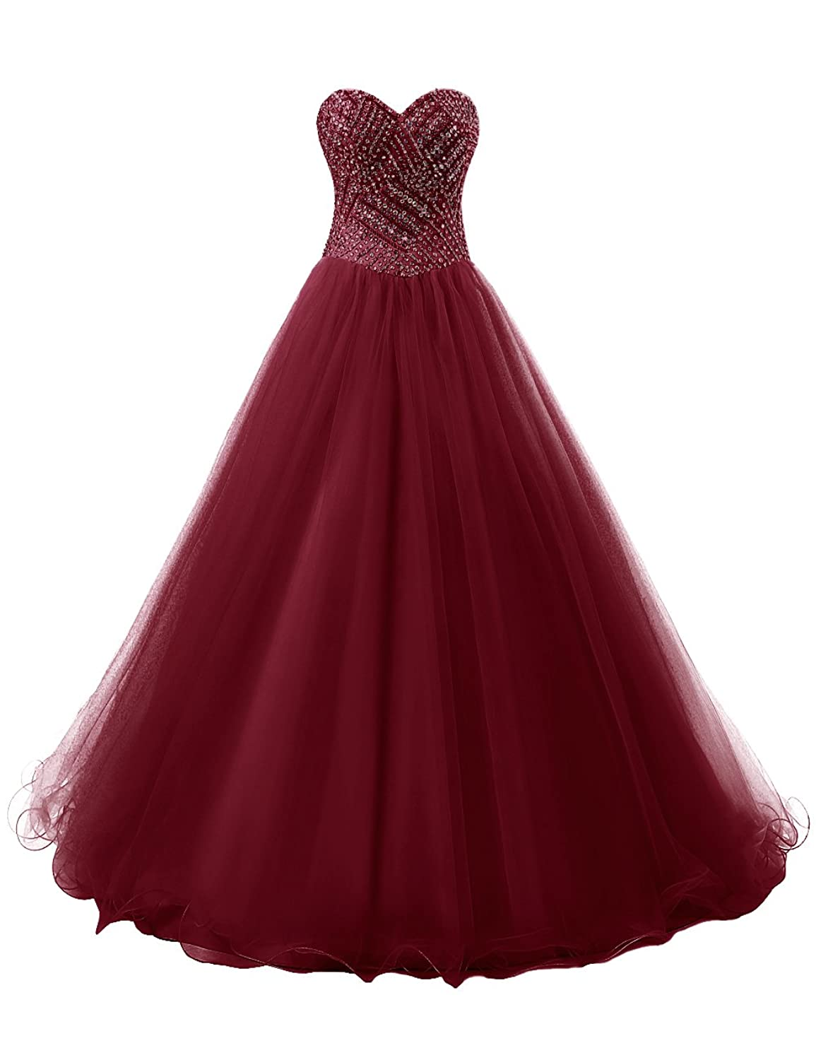 Dresstells? Women's A line Long Tulle Prom Dress Full of Beading Evening Party Dress