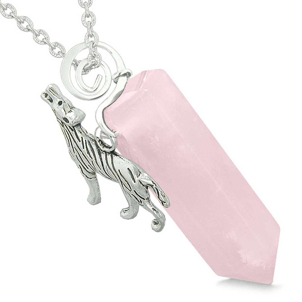 Courage Howling Wolf Protection Energy Amulet Lucky Crystal Point Rose Quartz Pendant 18 Inch Necklace