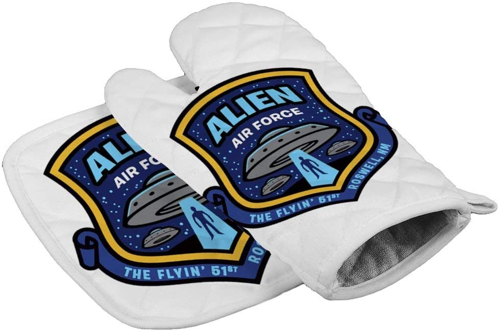LijiahuaMitts Alien Air Force Heat Resistant Oven Mitts and Pot Holders,Safe Kitchen Cooking Baking Grilling