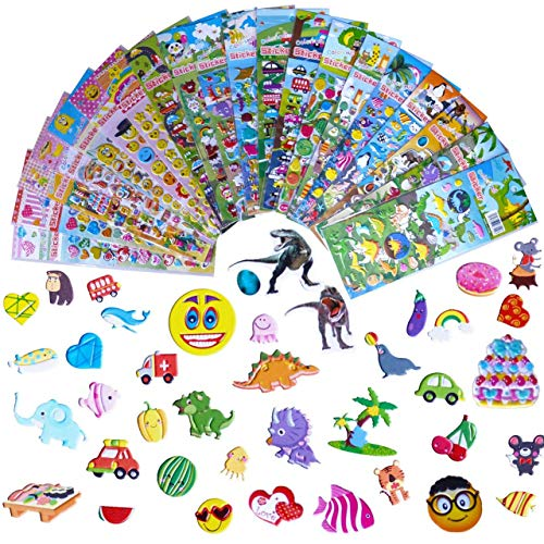 Kids Stickers 1200+, 20 Different Sheets, 3D Puffy Stickers, Bulk Stickers for Kids Girl Boy Birthday Gift, Teachers, Toddlers, valentine, Including Animals, dinosaurs, Fishes, Hearts and More!
