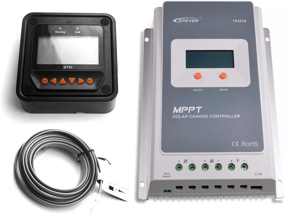 EPEVER 30A MPPT Regulador de carga solar Tracer A 3210A Medidor remoto MT-50 Carga solar con pantalla LCD para carga de bater/ía solar