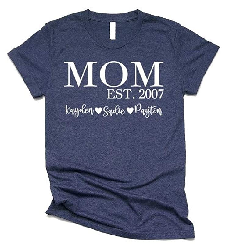 Rose Gold Print T-Shirt Personalised Mummy Est. Funny Mother/'s Day Year