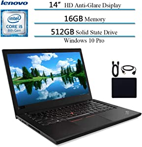 "2019 Lenovo Premium ThinkPad T480 14"" Flagship Business Laptop, Intel Quad-Core i5-8250U(>i7-7500U), 16GB DDR4 RAM , 512GB SSD, Fingerprint Reader, Bluetooth, Windows 10 Pro w/ HESVAP Accessories"