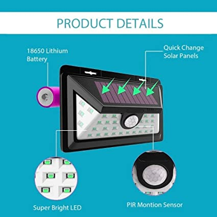 Sampri Solar Lights Motion Sensor Security Lights,32 LED Solar Powered Light Wireless Waterproof Security Light for Outside Wall (2 Modes Motion Activated, Wide Angle Sensor) with Front Switch