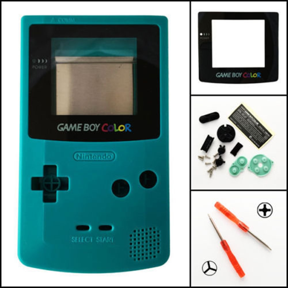 Replacement Full Housing Shell Case Cover for Nintendo Gameboy Color GBC (Teal)