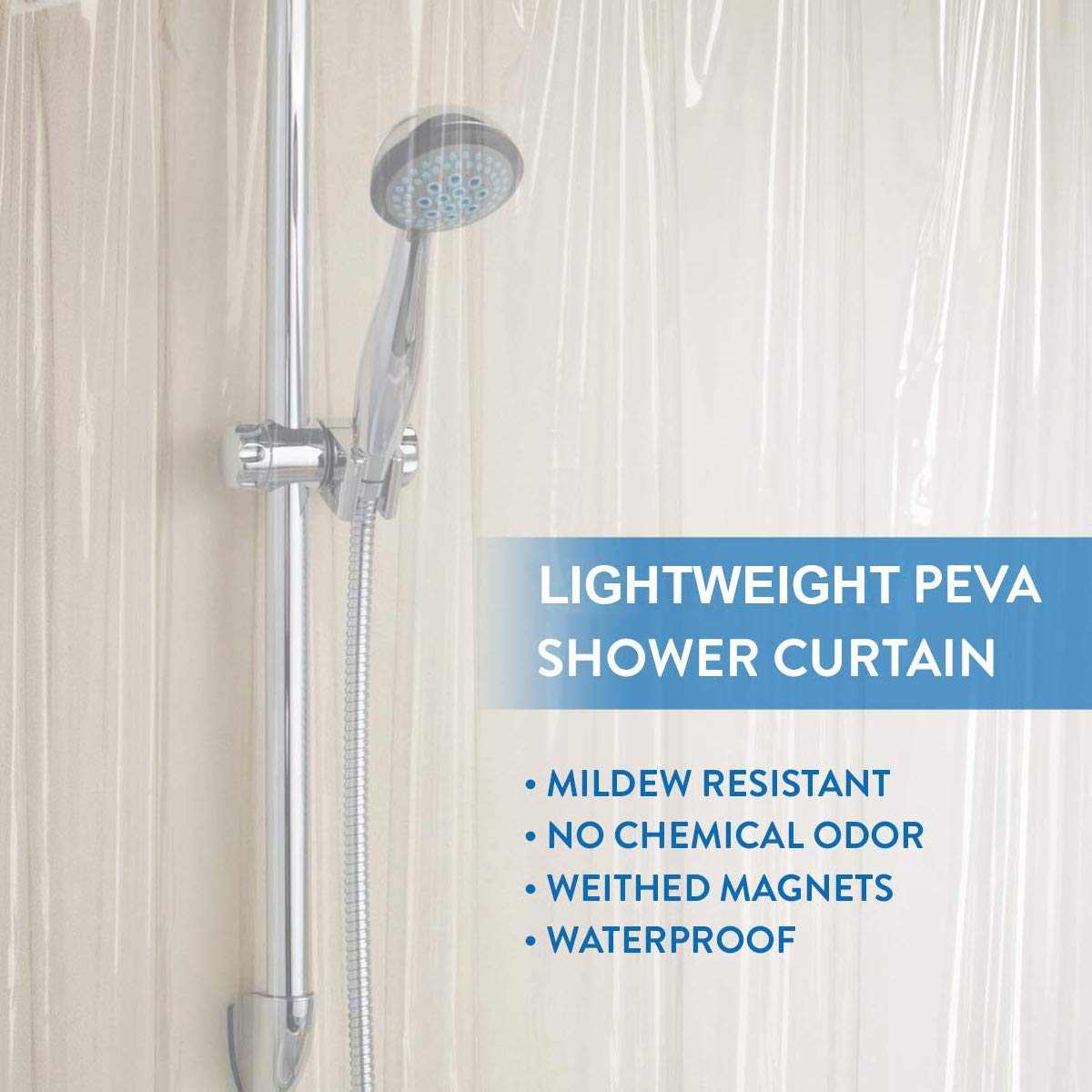 Downluxe Shower Curtain Liner Clear - Peva 3G Waterproof für Bathroom, 72X72 Inches, 1Pc