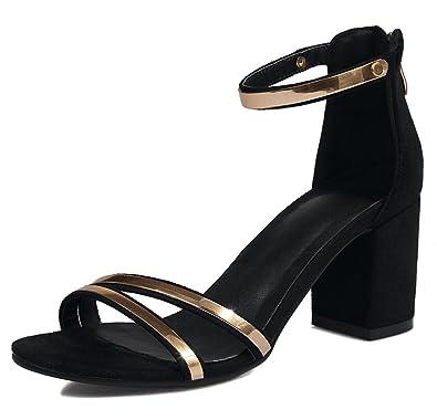 62e72f593da7d Mofri Women's Stylish Faux Suede Ankle Strap OL Work Shoes Back Zipper High Block  Heels Sandals