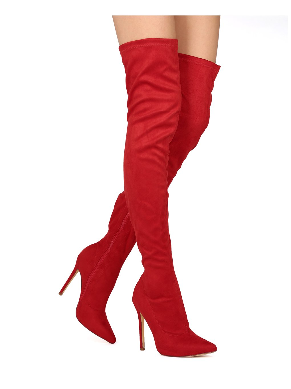 Liliana DB54 Women Suede Pointy Toe Thigh High Single Sole Stiletto Boot B07517DJFF 5.5 M US|Red Faux Suede