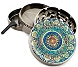weed grinder with design - Blue Mandala 4 Piece Zinc Titanium Metal Herb Grinder 2.5