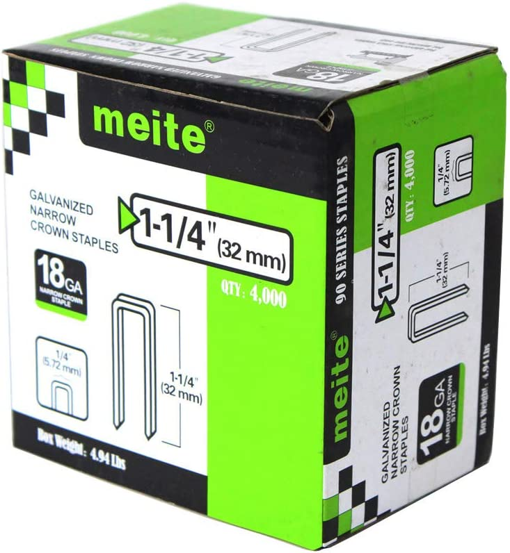 meite 18 Gauge k Series or 90 Sereis 1//4-Inch Crown By Leg Length 1//2-Inch To 1-1//2-Inch Galvanized Fine Wire Staples Upholstery Staples 4000pcs//Box 1-1//2-Inch CASE