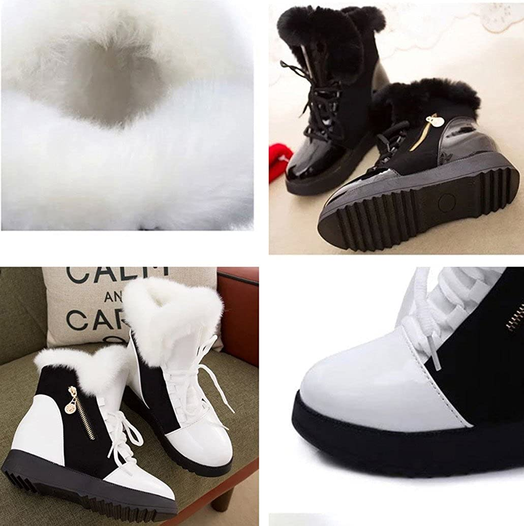 Gaorui Women Anti-Slip Slip On Zipper Platform Shoes Ankle Snow Boots High-Top Wedges Sneakers Faux Fur Lined Winter Boot White Black