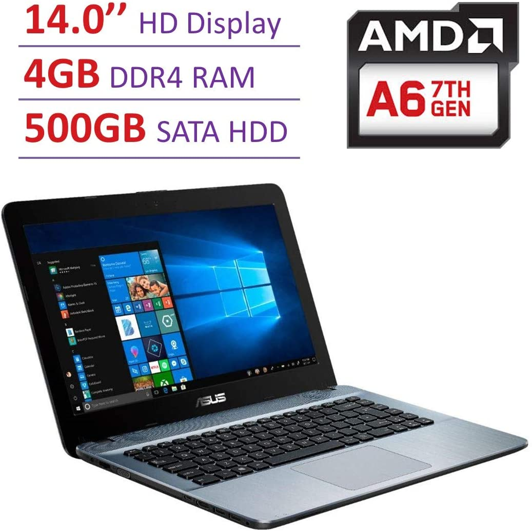 Newest Asus 14'' HD (1366x768) Backlight Display Laptop PC, AMD A6-9225 2.6GHz APU, 4GB DDR4 SDRAM, 500GB Hard Drive, Stereo Speakers, USB 3.0, HDMI, WiFi, Bluetooth, Windows 10, Choose Your SD Card