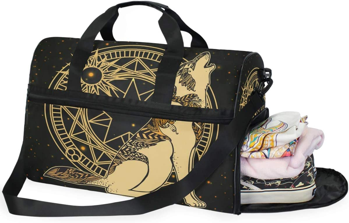 Cosmic Wolf Sports Gym Bag with Shoes Compartment Travel Duffel Bag for Men and Women