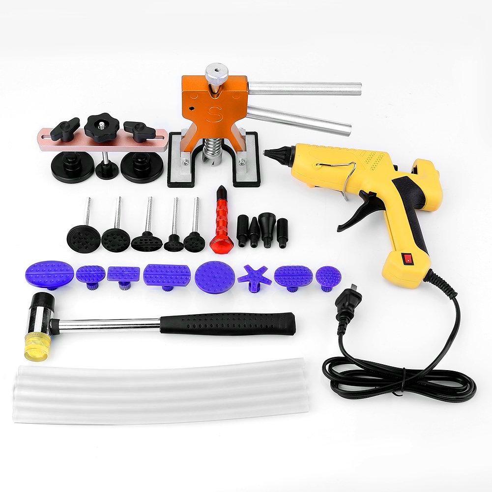 Qiilu 28Pcs/Set Paintless Repair Dent Glue Gun Lifter Car Body Removal PDR Tools Kit Puller Tabs