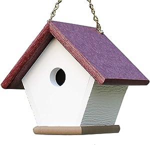 HomePro Garden Hanging Wren Bird House Handmade from Eco Friendly Recycled Plastic Materials (Cherry/Weatherwood)