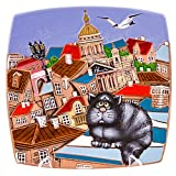 Town Ceramic Decorative Clay Plate Hand Made