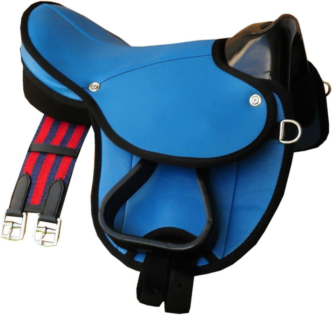 Pony de Shetty Sillín Little Billy, Set completo también para madera Caballos–Color: Azul claro Sillín Juego para pony o Shetty o madera Caballos