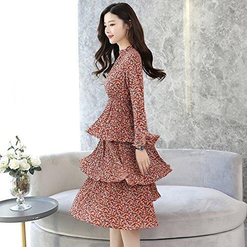 Robe Taille Longues Rouge Plissé Manches Lotus Slr Print Slim Leaf Fleur Floral q67X06Yx