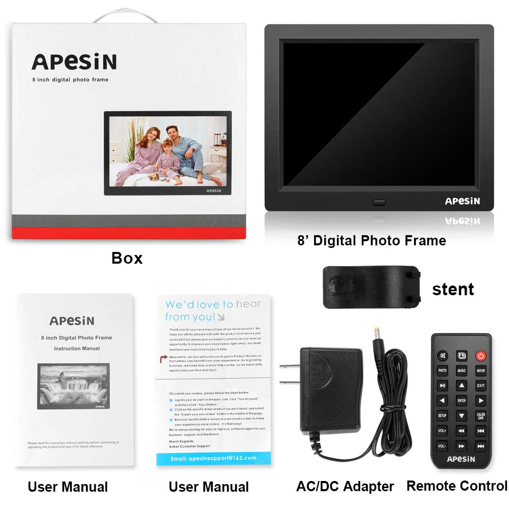 Digital Picture Frame, APESIN 8 Inch 1024x768 Pixels HD Screen(Black) by APESIN (Image #7)