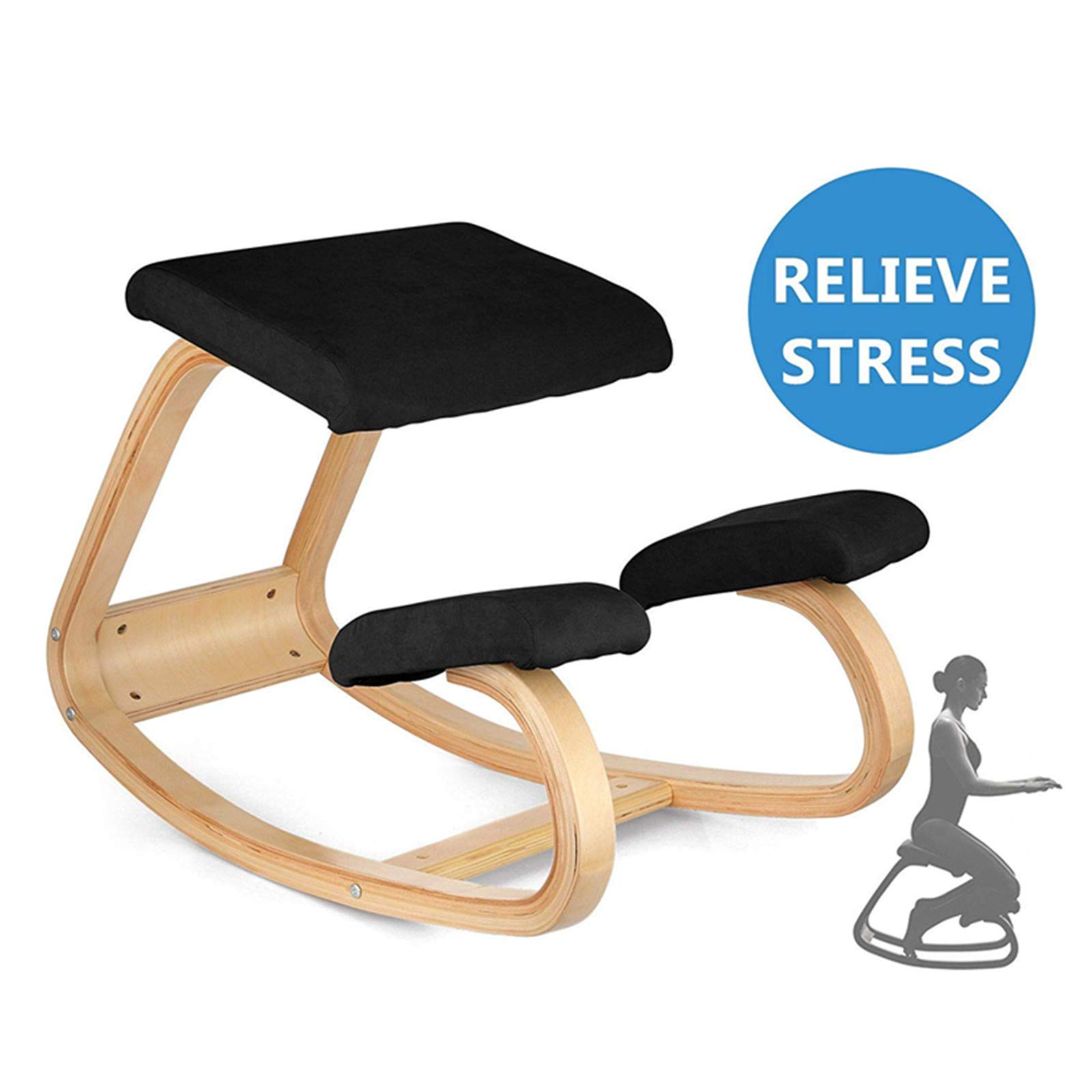 Happybuy Bentwood Ergonomic Kneeling Chair Office Home Black Comfortable Relieve Fatigue Kneeling Chair for Body Shaping Desk Computer Kneeling Chair Stool (Black)