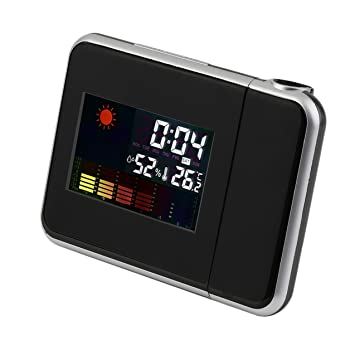 Redstrong Proyección, Reloj Digital LCD Negro, Calendario meteorológico de la estación meteorológica de Pantalla
