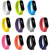 XIHAMA Watch Strap for Xiaomi mi Band 4 / mi Band 3, Soft Silicone Replacement Band Fitness Sports Activity Bracelet Wristband with Clasp for Xiaomi mi Band 4 / mi Band 3 (Set 3(11pcs))